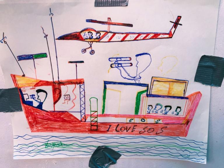 A drawing by a rescued migrant (AFP Photo/Anne CHAON)