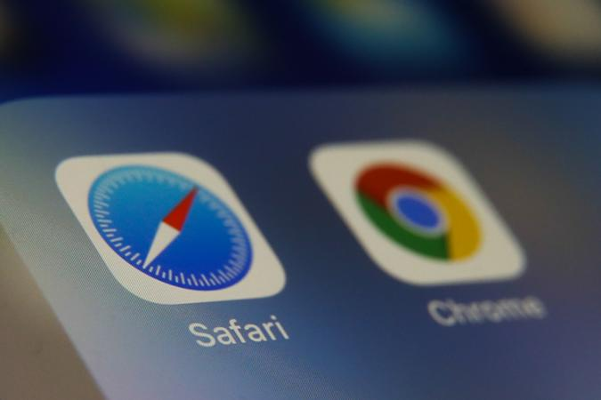 Safari and Google Chrome browsers icons are seen displayed on phone screen in this illustration photo taken in Poland on February 20, 2020. (Photo illustration byJakub Porzycki/NurPhoto via Getty Images)