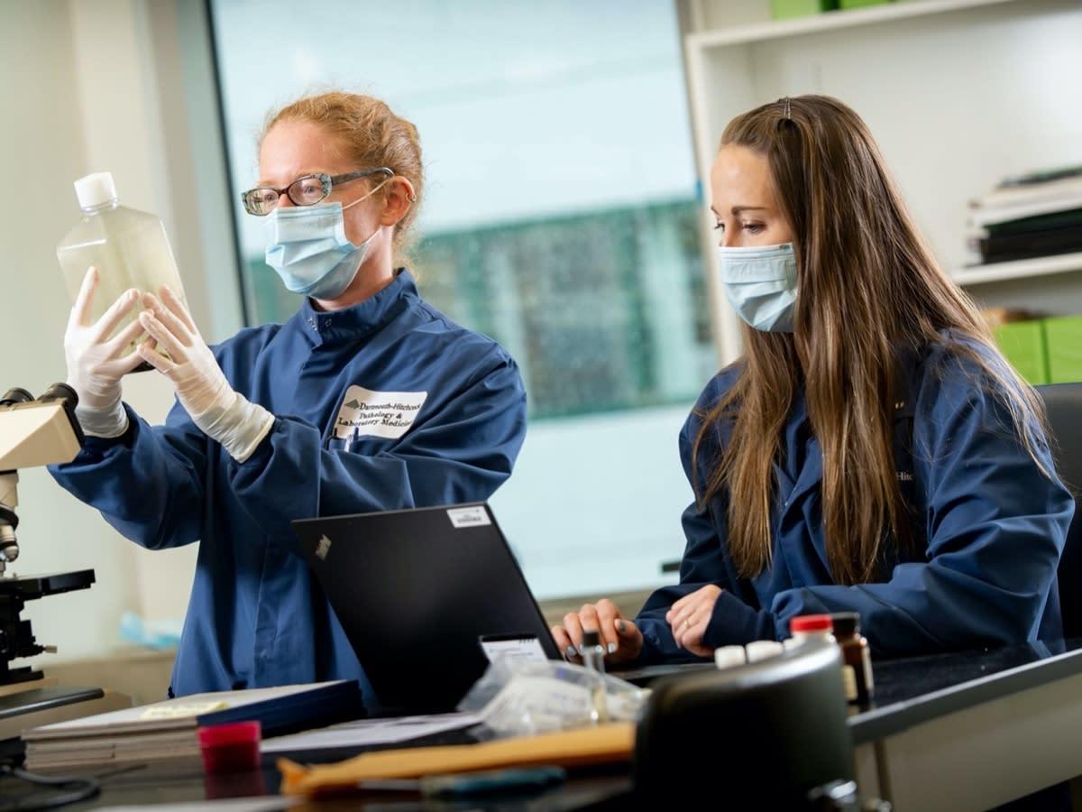 Co-investigators, Isabella Martin, MD, and Jacqueline Hubbard, PhD, in the laboratory at Dartmouth-Hitchcock Medical Center in Lebanon.