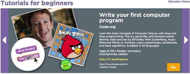 Hour of Code campaign teaches programming in 30,000 US schools (video)