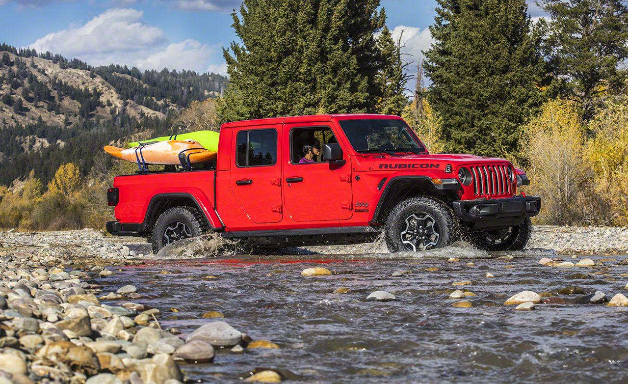 """<p>Jesus, Yahweh, Muhammad-whomever you pray to, you're probably letting out an exasperated thank you now that the Jeep Wrangler pickup truck is finally here. Jeep has officially named the truck <a href=""""https://www.caranddriver.com/news/2020-jeep-gladiator-jt-photos-info"""" rel=""""nofollow noopener"""" target=""""_blank"""" data-ylk=""""slk:Gladiator"""" class=""""link rapid-noclick-resp"""">Gladiator</a>, a throwback to the old J-series pickup it sold in the '60s, '70s, and early '80s, but it's okay: we won't tell anyone if you refer to the Jeep as the Wrangler pickup. Underneath its familiar exterior, there is an all-new frame that's beefier than the Wrangler's, as well as the Wrangler's same V-6 and (forthcoming) diesel engines.<em>-Alexander Stoklosa</em></p>"""