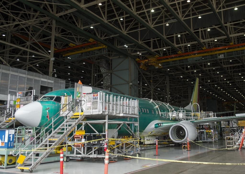 A Boeing aircraft is seen during the manufacturing process a factory in Renton, Washington, in May 2015 (AFP Photo/Saul Loeb)