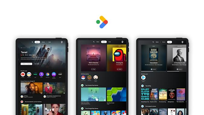 Google Entertainment Space for Android tablets. A header image with three tablets in portrait orientation showing the new Entertainment Space. Each of the tablets shows a different page: Watch, Games and Read from left to right.