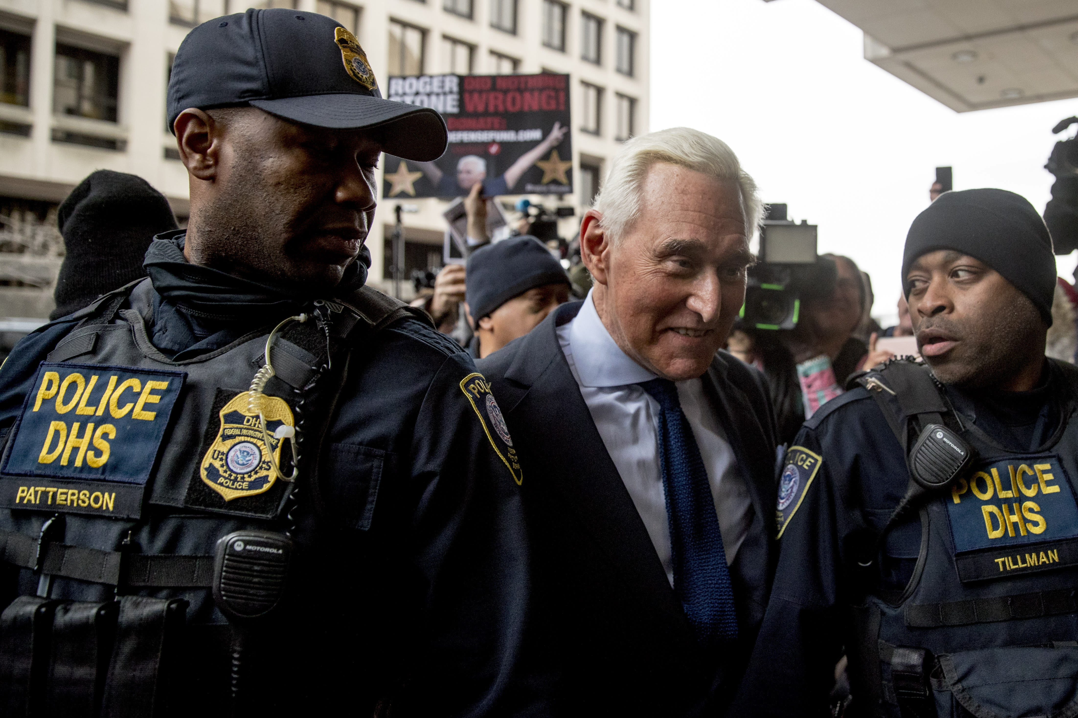 Former campaign adviser for President Donald Trump, Roger Stone arrives at Federal Court, Tuesday, Jan. 29, 2019, in Washington. (AP Photo/Andrew Harnik)