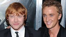 'Harry Potter' stars Rupert Grint and Tom Felton reunited to 'play Santa for the day' and surprise patients at a hospital