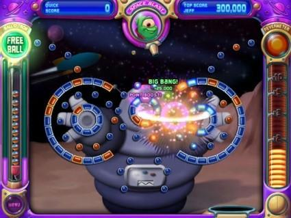 Peggle falling into the DS