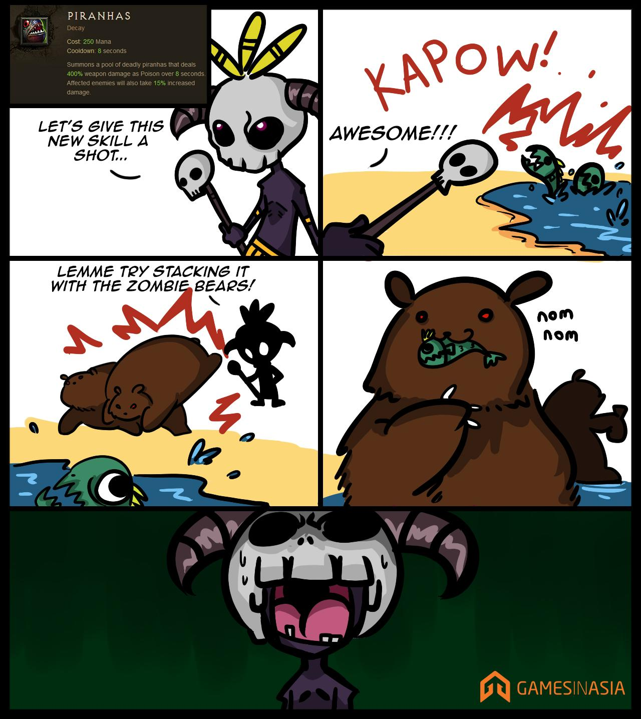 Corona Virus Zombie Hoax: Weekly Comic: Zombie Bears And Pirahnas Don't Mix In