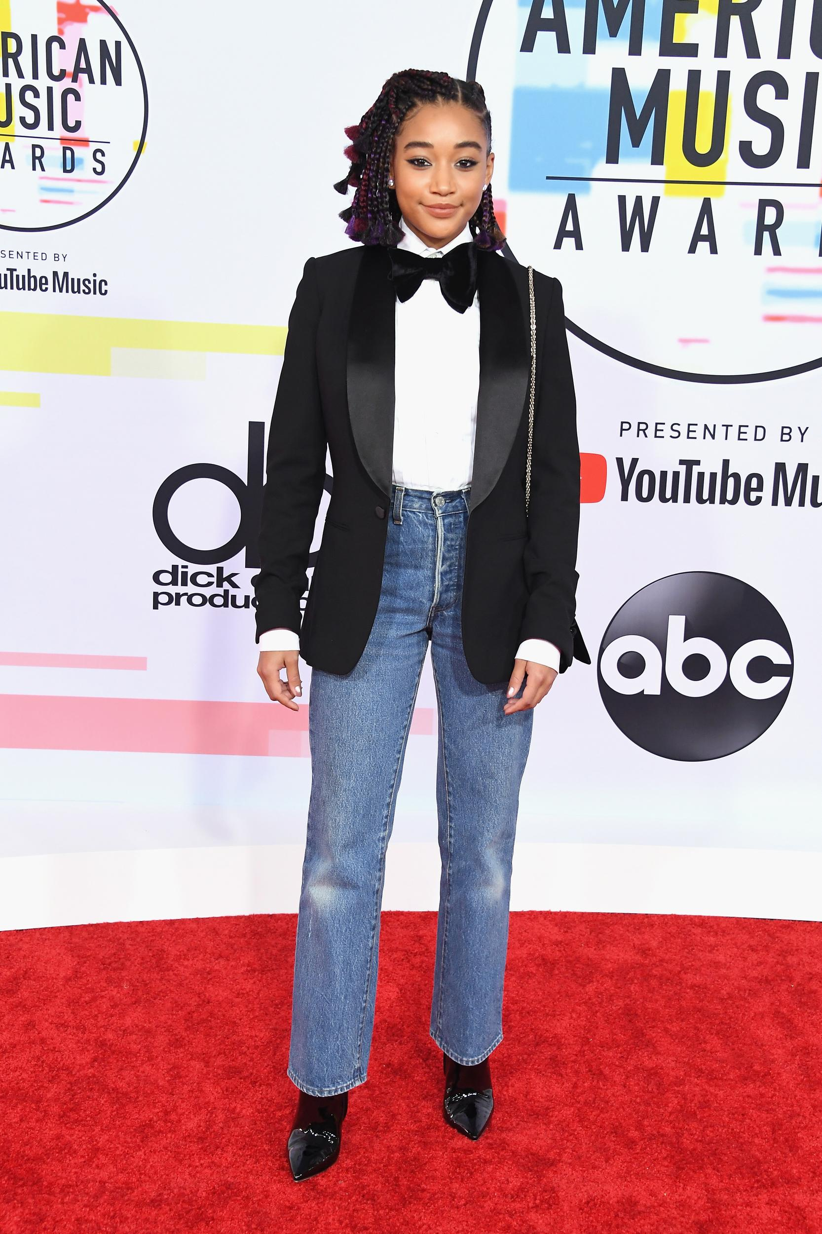 LOS ANGELES, CA - OCTOBER 09:  Amandla Stenberg attends the 2018 American Music Awards at Microsoft Theater on October 9, 2018 in Los Angeles, California.  (Photo by Steve Granitz/WireImage)