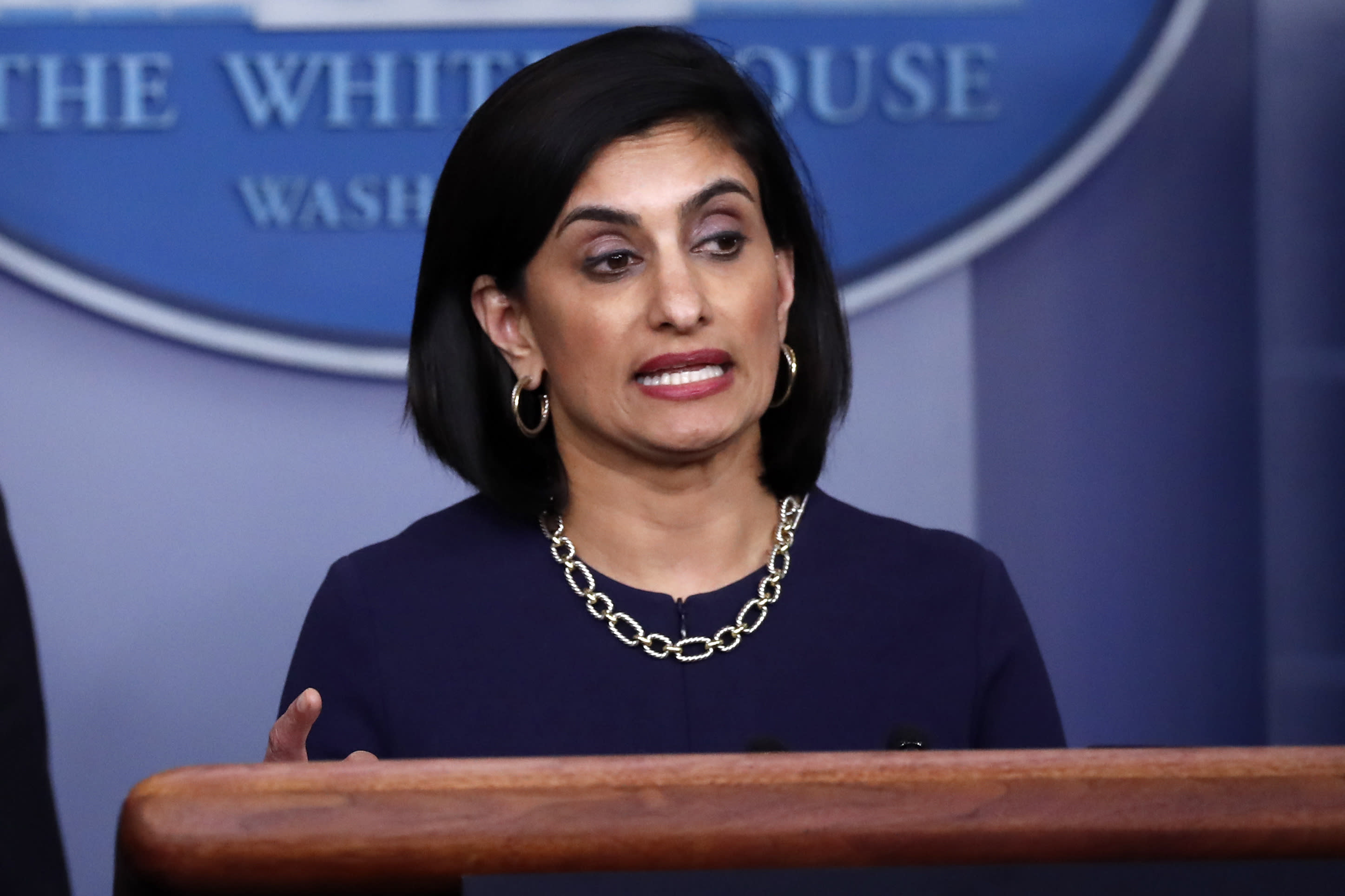 FILE - In this April 7, 2020, file photo, Seema Verma, administrator of the Centers for Medicare and Medicaid Services, speaks about the coronavirus, in the James Brady Press Briefing Room of the White House in Washington. Verma failed to properly manage more than $6 million in communications and outreach contracts, giving broad authority over federal employees to a Republican media strategist she worked with before joining the Trump administration, a government watchdog said in a report to be released Thursday, July 16. (AP Photo/Alex Brandon, File)