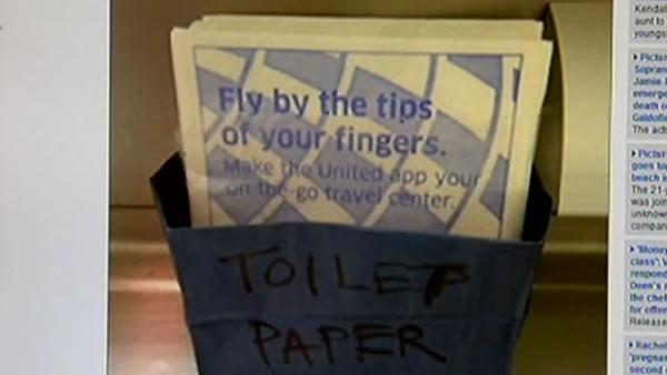 United flight leaving from SFO to London runs low on TP