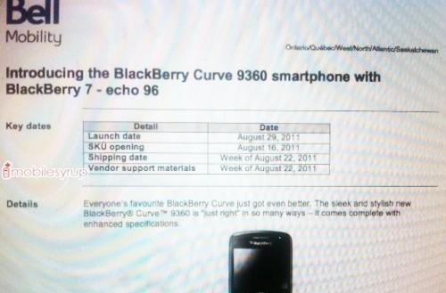 BlackBerry Curve 9360 going to Bell August 29th, T-Mobile September 14th