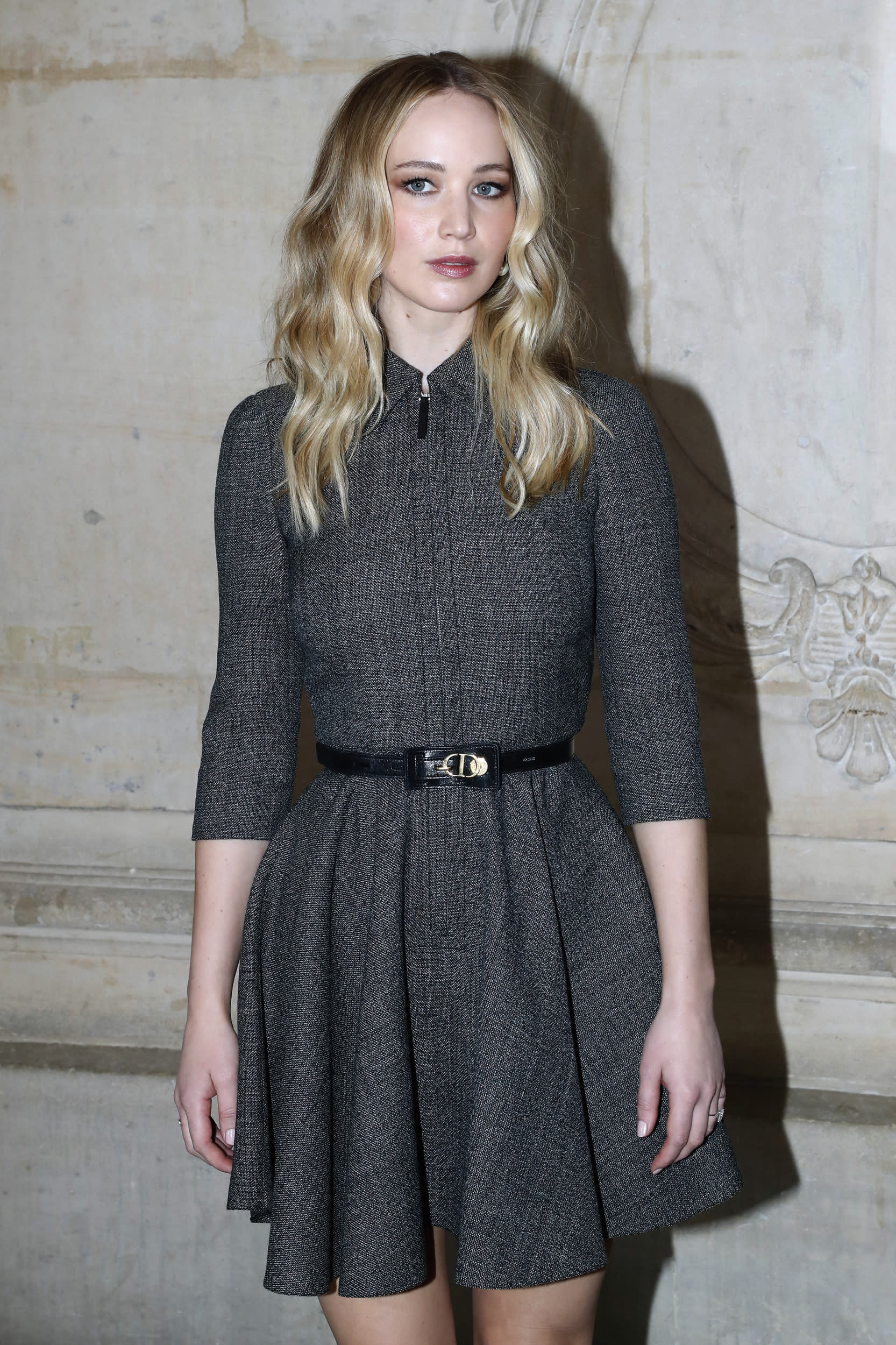 PARIS, FRANCE - FEBRUARY 26: Actress Jennifer Lawrence attends the Christian Dior show as part of the Paris Fashion Week Womenswear Fall/Winter 2019/2020 on February 26, 2019 in Paris, France. (Photo by Bertrand Rindoff Petroff/Getty Images)