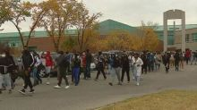 Hundreds of Calgary students join anti-racism walkout at Bishop McNally High School