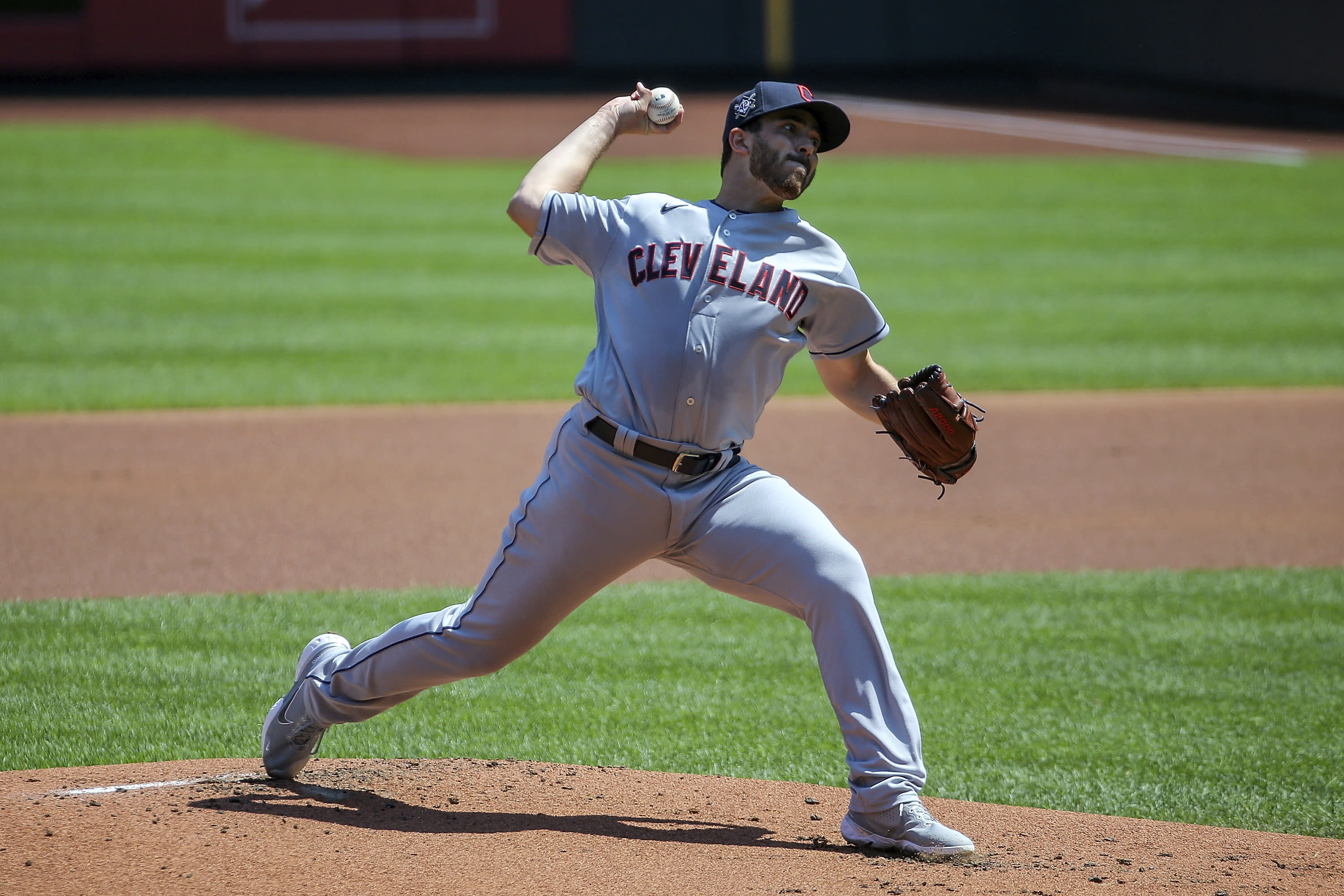 Cleveland Indians starting pitcher Aaron Civale (43) delivers during the first inning of a baseball game against the St. Louis Cardinals Sunday, Aug. 30, 2020, in St. Louis. (AP Photo/Scott Kane)