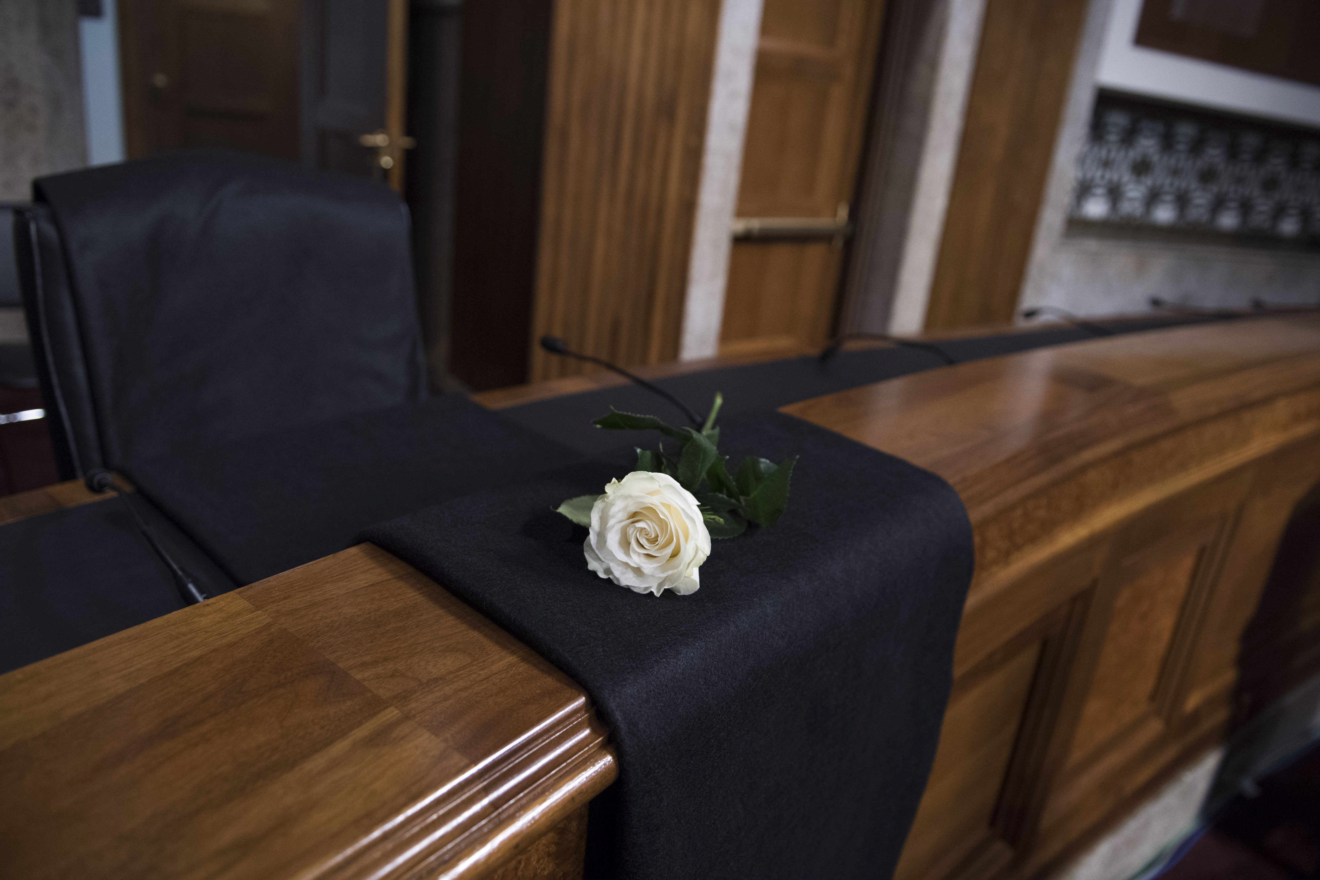 <p>A rose is placed to honor the late Sen. John McCain, R-Ariz., during a Senate (Select) Intelligence Committee hearing in Dirksen Building on the influence of foreign operations on social media on Sept. 5, 2018. (Photo: Tom Williams/CQ Roll Call/Getty Images) </p>