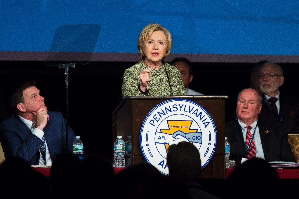 Democratic presidential candidate Hillary Clinton speaks at a labor organization gathering, April 6, 2016 in Philadelphia, Pennsylvania
