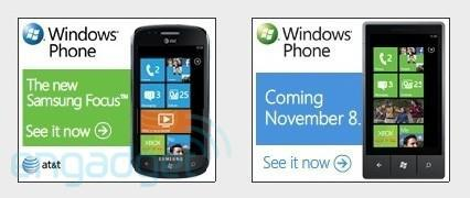 Windows Phone 7 ads reveal Samsung Focus for AT&T, November 8th date and shiny new website