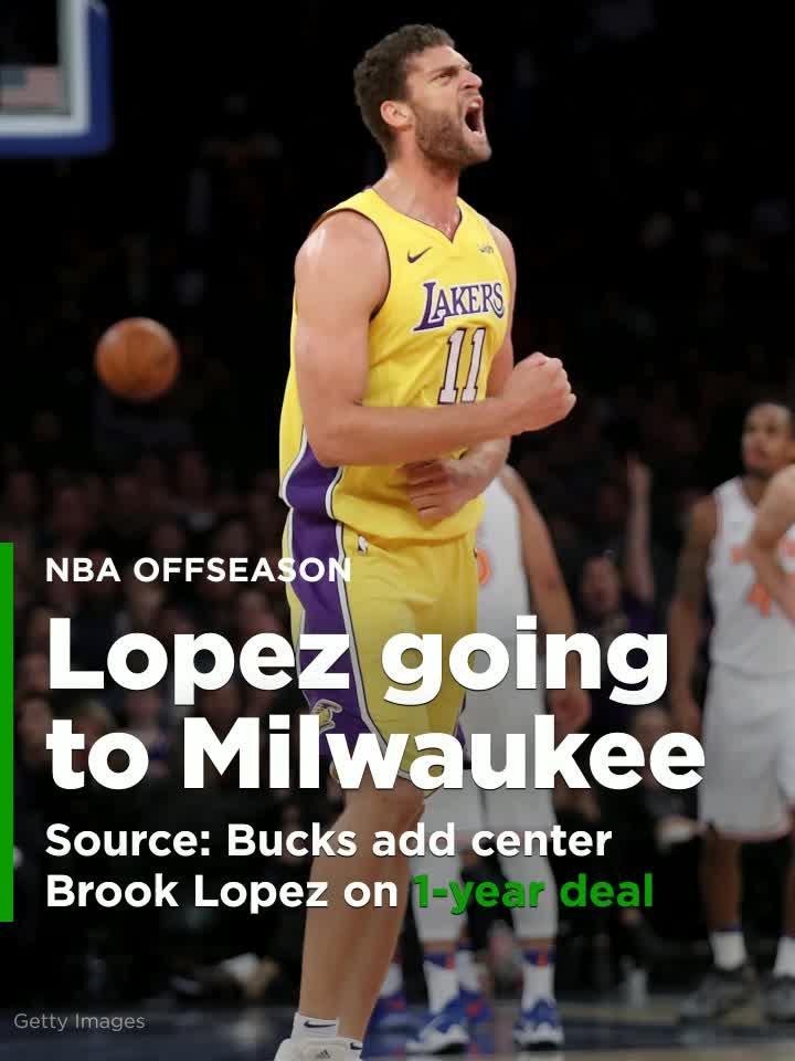 Source  Bucks add center Brook Lopez on 1-year deal  Video  ca81ea8fd