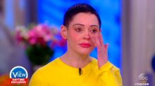Rose McGowan tears up when admitting her sister said they weren't related