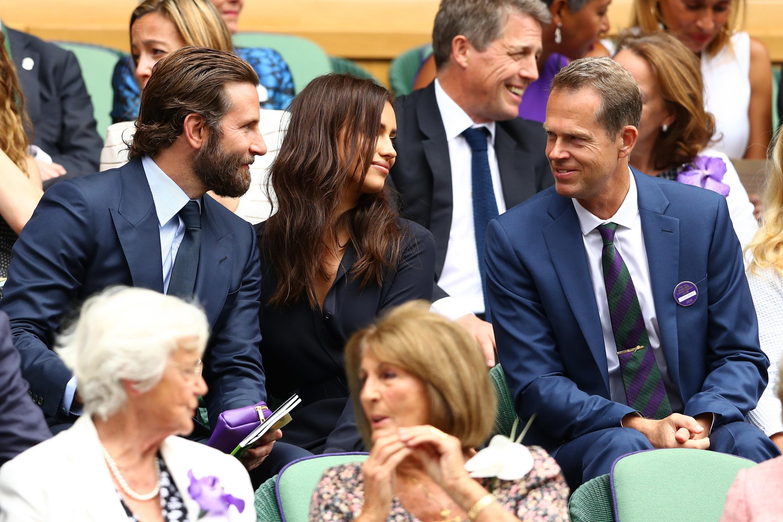 Bradley Cooper and Irina Shayk speak to Stefan Edberg.