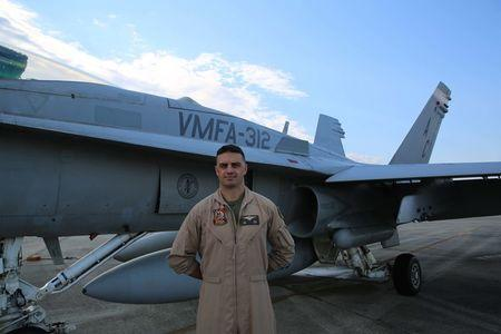 Marine Capt. Jeff Kuss, 30, of Durango, Colorado, U.S. part of the Navy Fight Demonstration Squadron, the Blue Angels, is pictured in Marine Corps Air Station Beaufort, South Carolina, U.S. in this July 30, 2014 handout photo. Cpl. John Wilkes/U.S. Marines/Handout via Reuters
