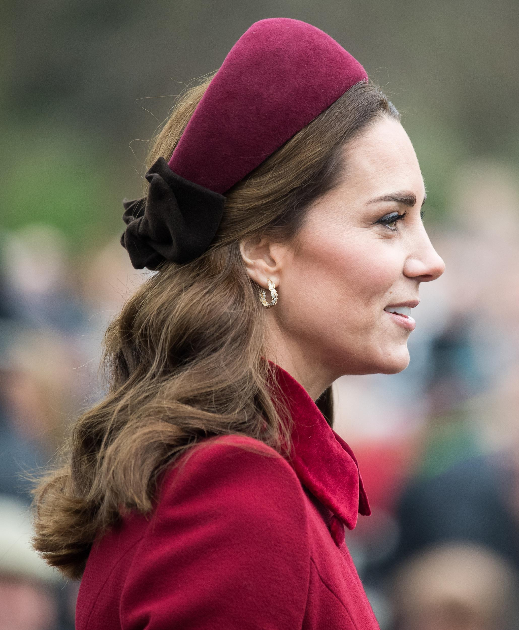 KING'S LYNN, ENGLAND - DECEMBER 25: Catherine, Duchess of Cambridge attends Christmas Day Church service at Church of St Mary Magdalene on the Sandringham estate on December 25, 2018 in King's Lynn, England. (Photo by Samir Hussein/Samir Hussein/WireImage)