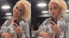 Katy Perry Displays Her Baby Bump in a Jaw-Dropping Silver Gown