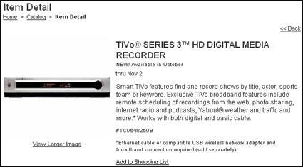Circuit City site adds TiVo Series 3, cites October release