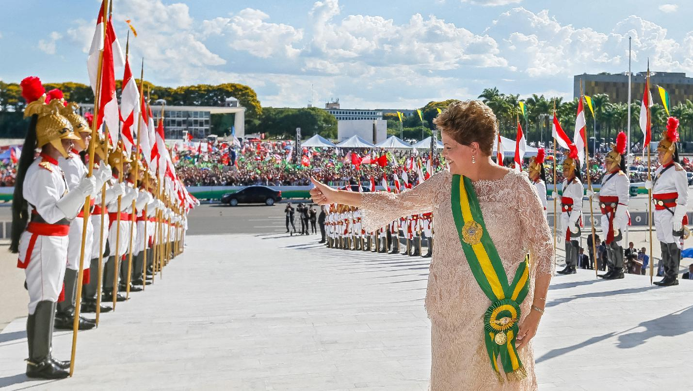 Brazilian President Dilma Rousseff gives the thumb up during her second term inauguration in Brasilia, on January 1, 2015, in this photo from the Brazilian Presidency (AFP Photo/)