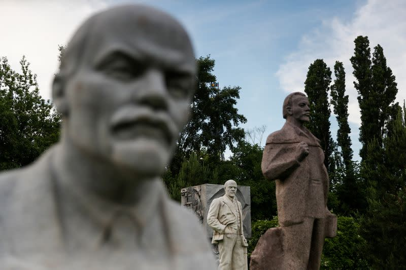 Monuments of Soviet state founder Lenin are on display in Moscow