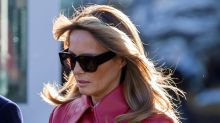 Melania Trump Jets Off to Mar-a-Lago in Wavy Louboutins & a Red Trench Coat