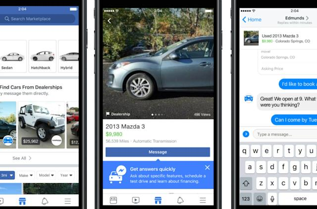 Facebook will pull used car ads into its Marketplace