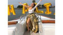 Thalía celebró su cumpleaños en un yate privado en la Estatua de la Libertad