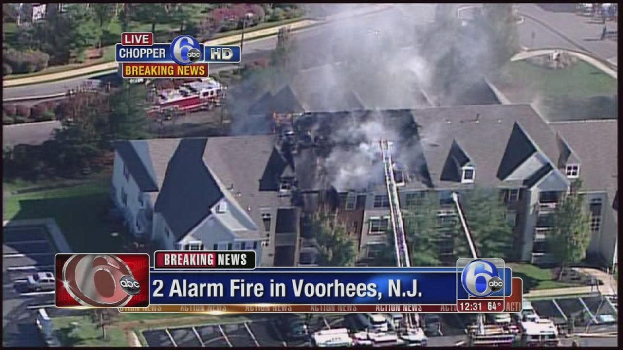 2-alarm fire burning in Voorhees, NJ