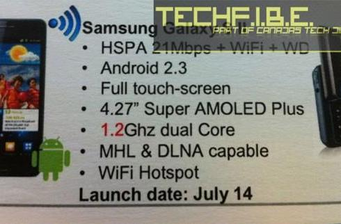 Samsung Galaxy S II headed to Bell on July 14