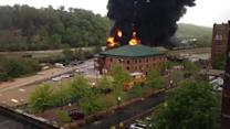 Raw Video: Crude-Oil Train Derails in Fiery Crash