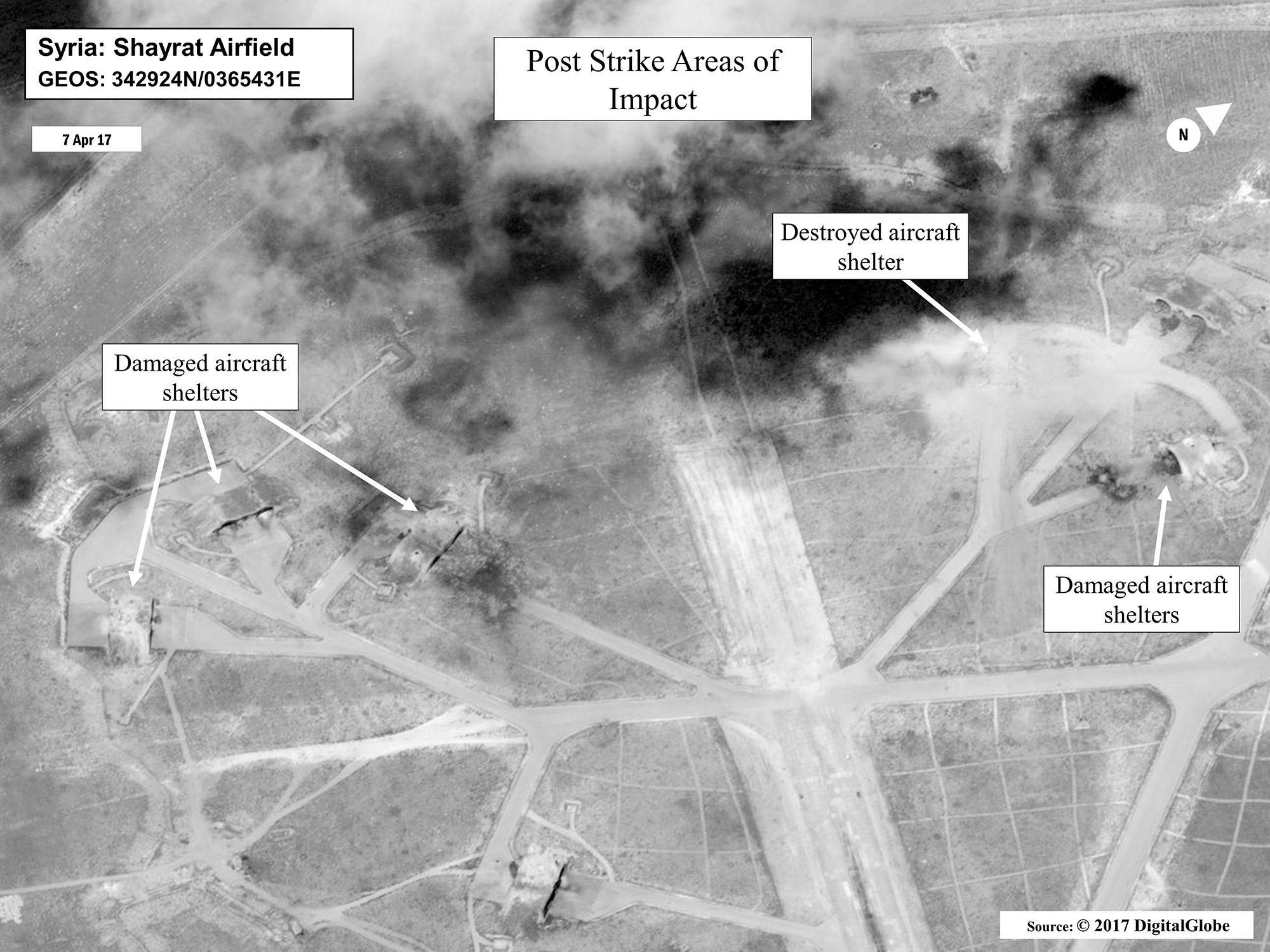 <p>This satellite image released by the U.S. Department of Defense shows a damage assessment image of Shayrat Air Base in Syria, following U.S. Tomahawk Land Attack Missile strikes on Friday, April 7, 2017. (DigitalGlobe/U.S. Department of Defense via AP) </p>