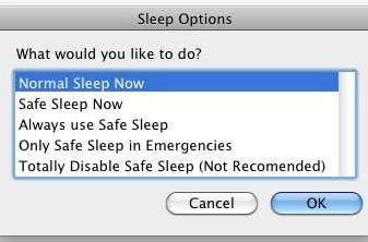 SafeSleep lets you use safe sleep on demand on your Mac