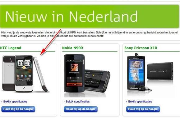 HTC Legend breaks cover on KPN's site for March launch