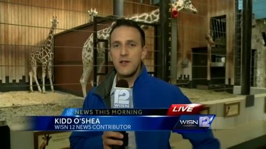 Kidd hangs out with giraffes at Milwaukee County Zoo