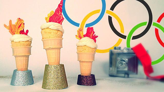 Go For the Gold With These Olympic Torch Cupcakes
