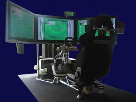 VRX's triple-screen racing simulator uses Xbox 360 Elite