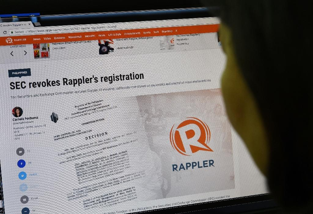 Rappler, founded in 2012, is among a handful of Philippines-based news organisations which had produced reports critical of Duterte's narcotics crackdown (AFP Photo/TED ALJIBE)
