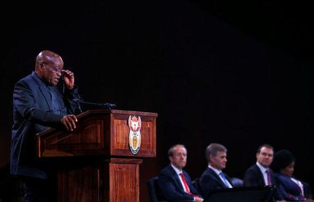 South Africa's President Jacob Zuma makes opening remarks during the official opening of the U.N.'s Convention on International Trade in Endangered Species (CITES) in Sandton