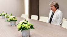 Theresa May Sitting Alone In Brussels Has Been Turned Into A Brutal Brexit Meme
