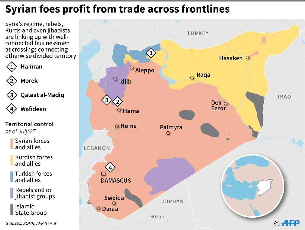 May of Syria showing key border crossings used for trade between different warring groups. (AFP Photo/Omar KAMAL)