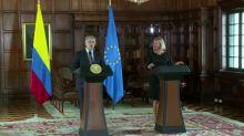 UE anuncia ayudas a Colombia para paz y migración venezolana