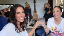 Ivete Sangalo mostra encontro com Claudia Leitte em aquecimento para live