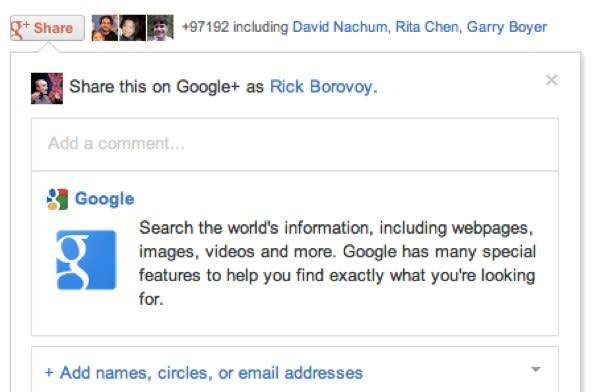 Google+ Share button gives you another option aside from plain 'ol +1s