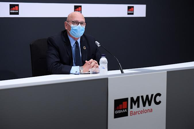 GSMA chief executive officer John Hoffman gives a press conference in Barcelona on September 23, 2020. - The Mobile World Congress has postponed the 2021 edition, initially scheduled for March, for the month of June. (Photo by Josep LAGO / AFP) (Photo by JOSEP LAGO/AFP via Getty Images)